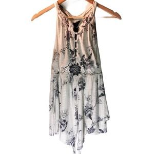 Free People Open Back Floral High Neck Top Tunic